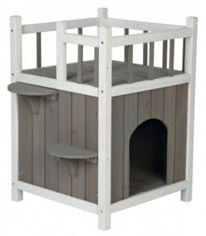 kattenhuis balkon grijs met wit