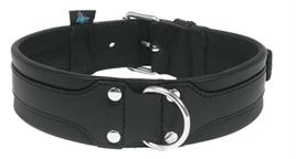 honden halsband comfort leer zwart